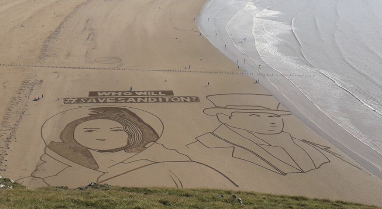 Sanditon Sisterhood turns it up to 11 with epic Brean Beach sand art effort!